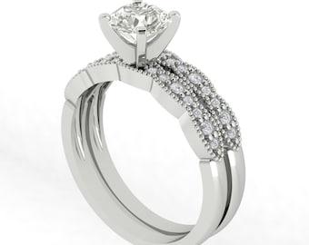 Certified  Forever One Moissanite Engagement Ring Set  Diamond Wedding Set Vintage Ring Set In 14k White Gold Gem1277