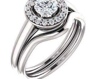 5mm  1/2ct  Forever One (GHI) Moissanite Solid 14K White Gold   Engagement  Ring Set  - ST233316