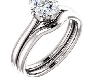 Certified  Forever One Moissanite Crown Engagement Ring Set ,Round Brilliant Cut Diamond Simulant Wedding Ring -14K White Gold-Gem1237