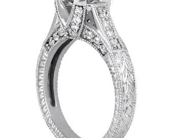 1carat 6.5mm Round  Forever One (GHI) Moissanite Diamond Vintage Engagement Ring ENR413