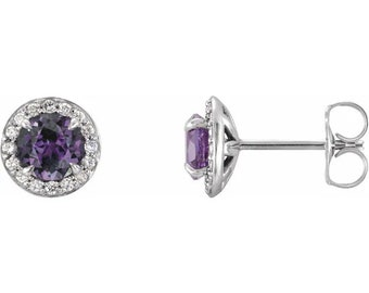 Natural Diamond & lab Created Pulled  Alexandrite (True Color Change)  Halo Earrings In 14K White/Yellow/Rose Gold