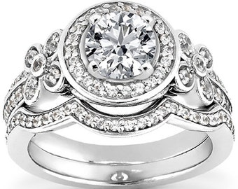 1 carat 6.5mm Round Forever One (GHI) Moissanite  Halo  Diamond Engagement Ring Set, Bridal Set ENS4312