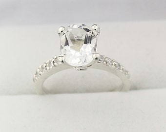 Stunning Natural   white  Topaz Solid 14K White Gold Diamond  Ring