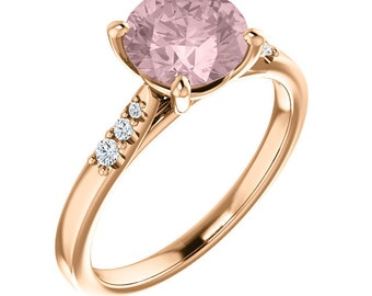 Natural  Diamond Morganite Ring Set, Bridal set, Roes gold, 7mm Morganite -ST234112 ( (Other metals and stone options available))