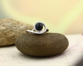 7mm Round BLACK Akoya Cultured Pearl and  Diamond Ring ---- 14k White Gold ST7522-Gem939