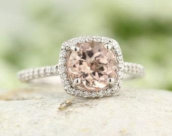 7mm Round  1.15  ct Natural  Morganite Solid 14K White Gold Diamond Engagement Ring - Gem844