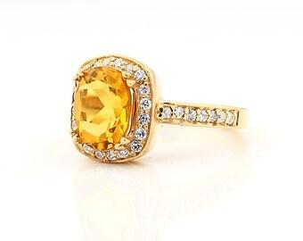 Natural 10x8mm Oval Citrine Solid 14K Rose Gold Diamond engagement Ring - Gem771