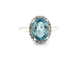 Natural Stunning  10x7 mm Blue Zircon Solid 14K White Gold Diamond Halo Ring - Gem918