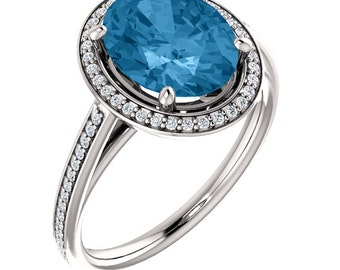Natural AAA 10x8mm Oval  Swiss Blue Topaz Solid 14K White Gold Diamond halo Engagement Ring Set-ST82790