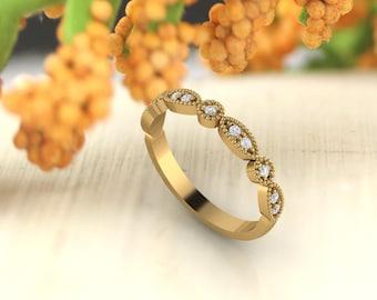 Art Deco Antique Style Diamond /Moissanite  Milgrain 14K White/Yellow/Rose Gold half Eternity Wedding Band Ring Anniversary Ring, Gem924