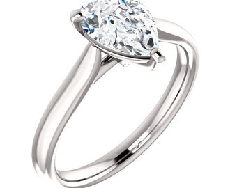 Certified  Forever One Moissanite Engagement Ring ,Pear Cut Diamond Simulant Wedding Ring In Solid 14K white Gold