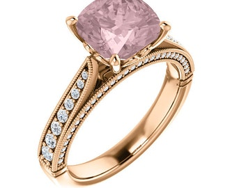 Natural AAA 8mm  Antique Cushion  Morganite  Solid 14K Rose  Gold Diamond Engagement Ring Set ST233585