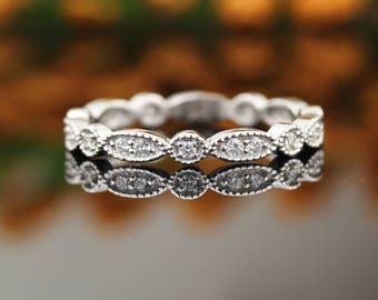 Art Deco Antique Style Diamond Milgrain 14K White Gold Full Eternity Wedding Band Ring Aniversary Ring Gem1067