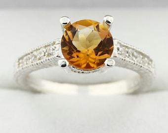 7mm Golden Yellow Citrine Solid 14K White Gold Diamond Ring -Antique