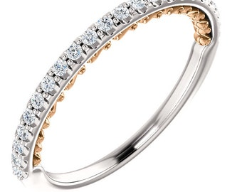 Natural Diamond Wedding Band Ring 14k Tow Tone Gold White / Rose or White /Yellow  ST233055
