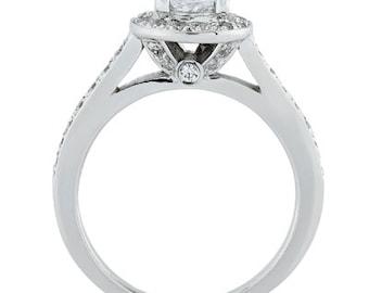 3/4ct 6mm Round Forever One (GHI) Moissanite Halo Diamond Engagement Ring ENR0197
