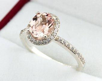 1.10 ct 8x6 mm Natural Fancy Color Oval Morganite  Solid 14K White Gold Diamond Engagement Halo  Ring-Gem846