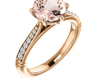 Natural AAA 8mm Round  Morganite  Solid 14K Rose Gold Diamond Engagement Ring Set With European Shank - ST233501