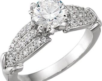6.5mm  1 ct  Round  Forever One (GHI) Moissanite Solid 14K White Gold Diamond  Engagement  Ring   - ST762707