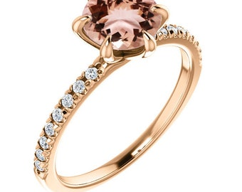 Natural  Diamond & Morganite Engagement Ring  In 14k Rose Gold (Center stone options available)