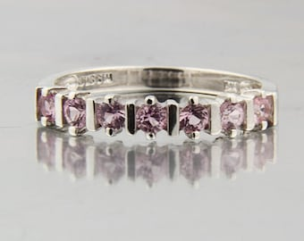 Natural Pink Sapphire Solid 14K White Gold Diamond Ring
