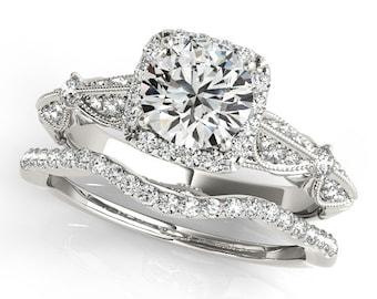 1 ct Forever One (GHI) Moissanite Solid 14K White Gold Diamond Engagement Ring - OV61985