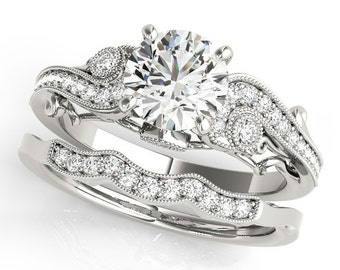 Certified  Forever One Moissanite 14K White Gold Diamond ANTIQUE style Engagement Set -OV61892 (Other metals & stone options available)