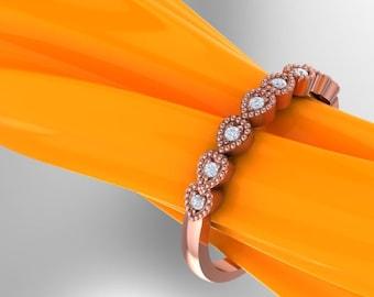 Art Deco Antique Style Diamond Milgrain 14K White/Yellow/Rose Gold Wedding Band Ring Aniversary Ring Valentine's day Gift Gem1281