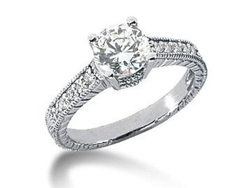 1carat 6.5mm Round  Forever One (GHI) Moissanite Diamond Vintage Engagement Ring ENR756