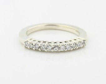 14k White Gold Natural Diamond Wedding Band Ring- Special Offer(Promotion)