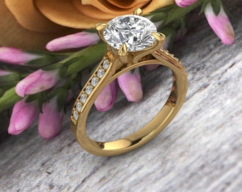 Solid 14K Gold 2.00 CT Round Moissanite (DEF) Fancy Cathedral Style Engagement Ring ,Diamond Ring ,Moissanite wedding ring  Gift For Her