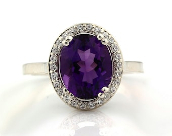 Natural Oval  10x8mm Purple Amethyst  Solid 14K White Gold Diamond engagement  Halo Ring - Gem829