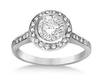 1/2 carat 5mm Round Forever One (GHI) Moissanite Halo Diamond Engagement Ring  ENR7516
