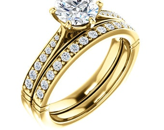 1ct Forever One Moissanite Near Colorless 14K Yellow Gold   wedding Ring Set With European Shank -ST233501