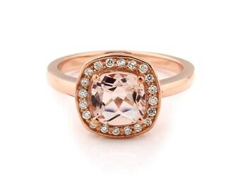 7mm Antique Cushion cut  1.55 ct  Natural  Morganite Solid 14K Rose  Gold Diamond Engagement Ring - Gem911- ON SALE