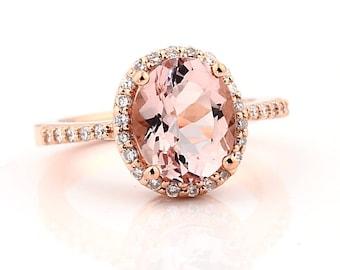 Natural 10x8mm  AAA Facet Cut Morganite  Solid 14K Rose Gold Diamond engagement Ring Gem11