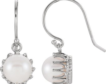14kt White7.5-8mm Freshwater Cultured Pearl Crown Earrings ST96901
