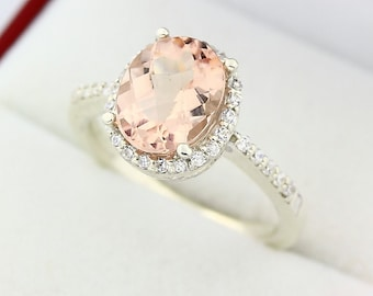 10x8mm AAA Natural Oval Checkerboard Cut Morganite(Pink Emerald)  Solid 14K White Gold Diamond engagement Halo Ring