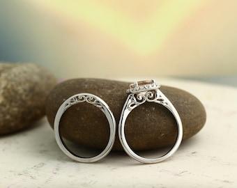 Bridal Set Floral Design Morganite Engagement Ring 14K White Gold Diamond Halo Wedding SET(Other metals  & stone options available)-Gem1155
