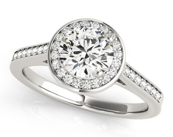 Forever One (GHI) Moissanite Solid 14K White Gold  Halo  Engagement  Ring OV95156-Size 6