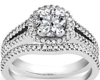 1 carat 6.5mm Round Forever One (GHI) Moissanite   Split Shank Halo  Diamond Engagement Ring Set, Bridal Set   ENS4297