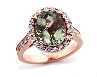 Natural Checkerer Cut  Green Amethyst  Solid 14K Rose Gold Diamond engagement Ring