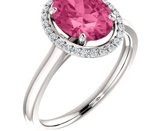 Natural AAA 9x7mm Fancy Color  Pink Tourmaline Solid 14K White Gold Diamond Halo Engagement Ring Set ST233171