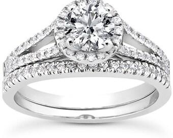 1 carat 6.5mm Round Forever One (GHI) Moissanite  Halo  Bridal Set Diamond Engagement Ring Set  ENS4261