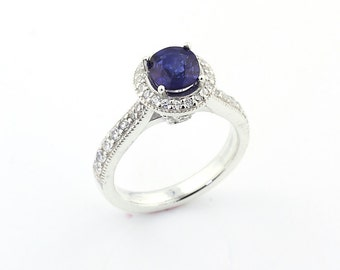 AAA Natural blue sapphire Solid 14K White Gold Diamond Engagement  Ring