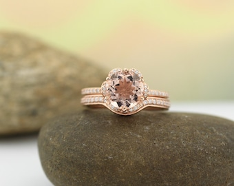 Natural AAA 8mm  Round Morganite  Solid 14K Rose  Gold Floral Inspired Diamond  Engagement Ring Set- Gem1253