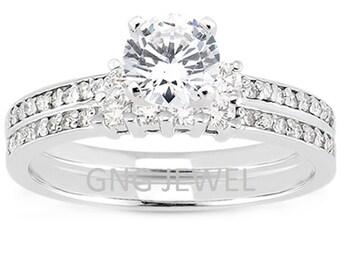 1 carat 6.5mm Round Forever One (GHI) Moissanite Solid 14K White Gold Engagement  Ring set ENS4212