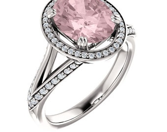 Natural AAA 10x8mm Oval  Morganite  Solid 14K White Gold Diamond halo Engagement Ring Set-ST82793