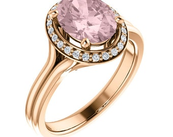 Natural AAA 10x8mm Oval  Morganite  Solid 14K rose  Gold Diamond halo Engagement Ring Set-ST82767