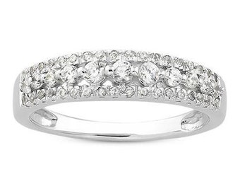 Three-Row Prong-Set Diamond Wedding  Diamond 14K White/Yellow/Rose  Gold half  Eternity Wedding Band Ring Aniversary Ring ENS4125